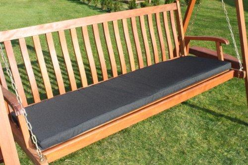 Gartenmöbel-Auflage - Auflage für 3-Sitzer-Hollywoodschaukel oder große Gartenbank in Schwarz