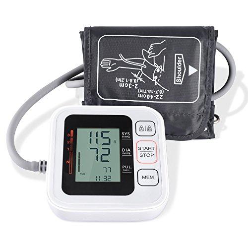 Blutdruckmessgerät,COULAX Digitales Oberarm Blutdruck Messgerät mit WHO Anzeige und großem Display für zwei Nutzer (2x 120 speicherbare Messungen), Automatisches Elektronisches Blutdruckmessgerät(Armumfang 22-40 cm)