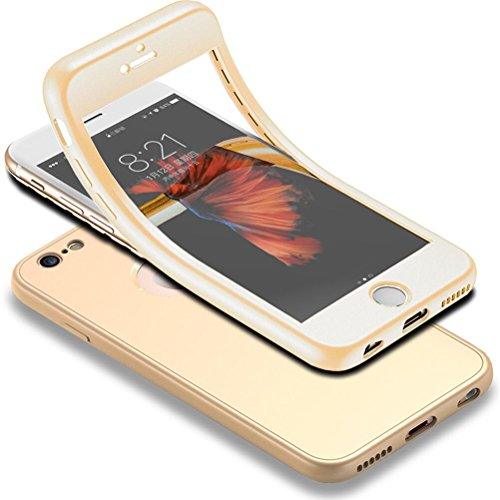 """Für iPhone 6s Hülle + Panzerglas, HICASER 360 Grad Komplettschutz Vorder und Rückseiten Schutz Schale Ganzkörper-Koffer Soft TPU Schutzhülle für iPhone 6 / 6s 4.7"""" Gold"""