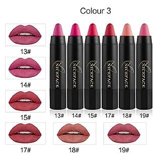 Anglewolf 6Pcs Long-lasting Velvet Matte Color Pencil Lipstick Crayon Sexy Makeup Set (Black C)