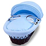 Izziwotnot - Cesto para moisés (mimbre de color oscuro), color azul
