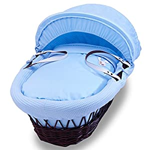 Izziwotnot Gift Blue  on Dark Wicker Moses Basket   8