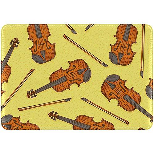 Geige Violine Gekritzel Leder Pass Inhaber Cover