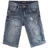 Jungen Kinder Kurze Cargo Jeans Hose Bermuda Shorts Capri Vintage Strech 21302, Farbe:Blau;Größe:128