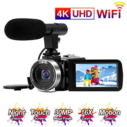 Videokamera 4K Camcorder Full HD 30MP WiFi-Konnektivität Videokamera mit Mikrofon 3,0-Zoll-Touchscreen IR-Nachtsicht Video Camcorder Zeitraffer