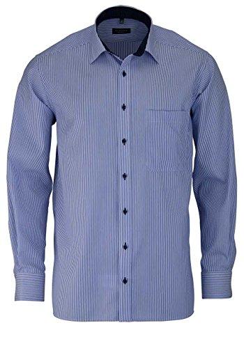 ETERNA Herren Langarm Hemd aus 100% Baumwolle Comfort Fit mit Kent Kragen bequem geschnitten Twill Hellblau Gestreift, Größe:45 (100% Twill Shirt Baumwolle)