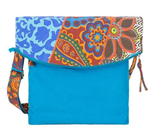 Sunsa Umhängetasche, Borsa a tracolla donna Multicolore multicolore Größe circa 30x37-50x8 cm, blu (Multicolore) - 51120 blu