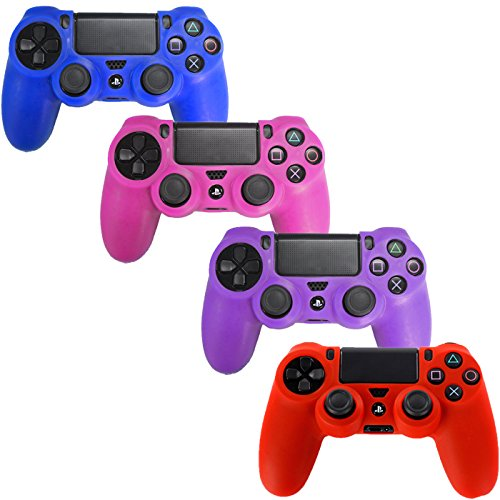 HDE PS4 Controller Skin 4 Pack Combo Silikon Gummi Schutz Grip für Sony Playstation 4 Wireless Dualshock Game Controller (blau, rot, lila, rosa) -