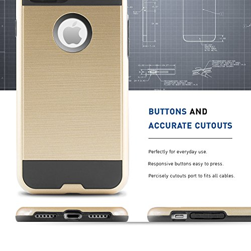 iPhone 7 Hülle, BEZ® Hybrid Silikon Stoßfest Handyhülle Slim Armor Drop Resistance Case Cover Etui für iPhone 7 - Schwarz Golden