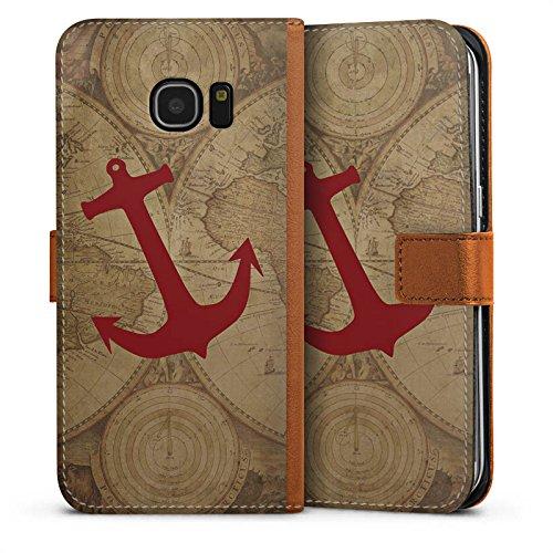 DeinDesign Tasche Leder Flip Case Hülle kompatibel mit Samsung Galaxy S7 Edge Anker Anchor Maritim