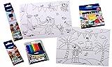 Platzset zum ausmalen Din A3 für Junge/Mädchen mit 4 verschiedenen Stiftepackungen für Restaurant, Party, Kindergeburtstag