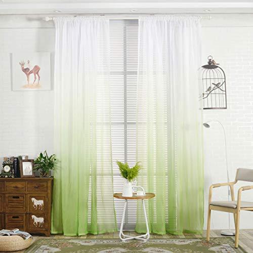 WRMING 2er Pack Gardinen Voile Vorhang Farbverlauf Transparent Gardinenschal luftig und lichtdurchlässig, für Wohnzimmer Schlafzimmer Fensterdeko,Green,100X200cm (Green Vorhänge Wohnzimmer Für)
