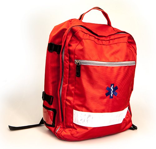 RED EMERGENCY RESPONSE RUCKSACK (UNKITTED) WITH FREE PRINTING - PRINT DETAILS REQUIRED AT TIME OF ORDERING.