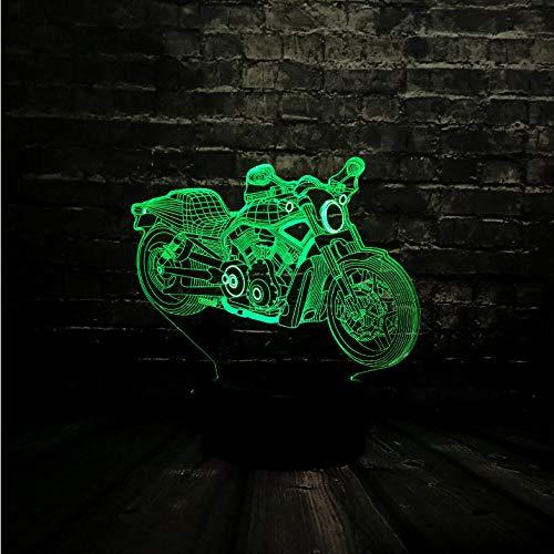 Nuovo 3D Decor LED da tavolo Luce notturna Carica USB Lampada da tavolo per auto da moto alimentata a batteria 7 Cambio di colore Regalo degli amici (Senza batteria)