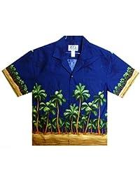 KY´s| Chemise Hawaïenne D'Origine | Pour Hommes | S - 8XL | Manche Courte | Poche Avant | Hawaiian-Imprimer | Plage | Palmiers | Bleu