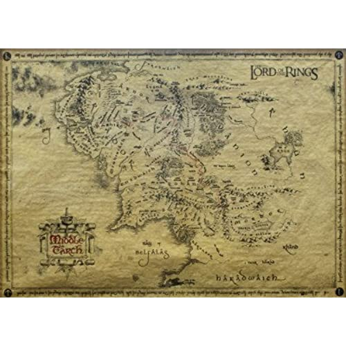 posters the lord of the rings poster art print parchment map of middle earth 26 x 18 inches