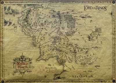 Póster 'Señor de los anillos, mapa', Tamaño: 46 x 66 cm