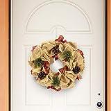 Christmas Presents Ghirlanda Dietroporta in Juta e Tessuto Scozzese Dietro Porta Natalizio Decorazioni Porta Natale con Pigne Colore Beige