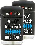 Gasfeuerzeug Outdoorfeuerzeug Sturmfeuerzeug Feuerzeug nachfüllbar bedruckt anstelle Gravur - 2er-SET Feuerzeug - Original EASY TORCH8® Jet outdoor Gas-Sturmfeuerzeug schwarz mit gummierter Oberfläche - mit farbigen AUFDRUCK für den Bayern-Fan