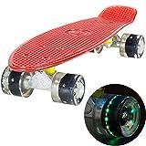 LAND SURFER® Skateboard Cruiser Retro Completo 56cm con tabla coloreada transparente - cojinetes ABEC-7 - Ruedas que se iluminan 59mm PU + bolsa para el transporte - Tabla Roja Transparente/Ruedas Negras LED
