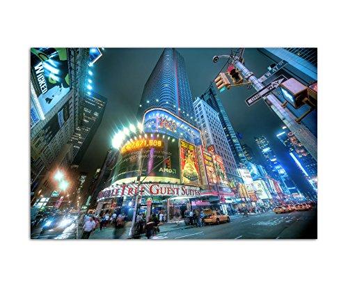 80 x 120 Cm-imprimé sur toile et châssis motif times square new york motif nuit lED châssis photos décoration moderne et élégant