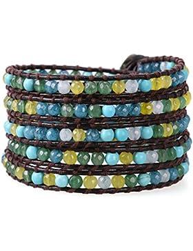 KELITCH Bunt Gelb Blau Grün Achat und Blau Türkis Stein Perlen 5-Reihig Wickelarmband Dunkel Braun Leder Armbänder