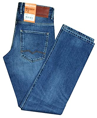 Mens Hugo Boss Orange 24 Barcelona Regular Fit Used Look Mid Blue Wash Smart Casual Denim Jeans Size 30