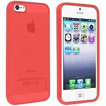 Donkeyphone 599371031 - funda carcasa de silicona roja para iphone 5, 5s, 5se, gel tpu lisa transparente