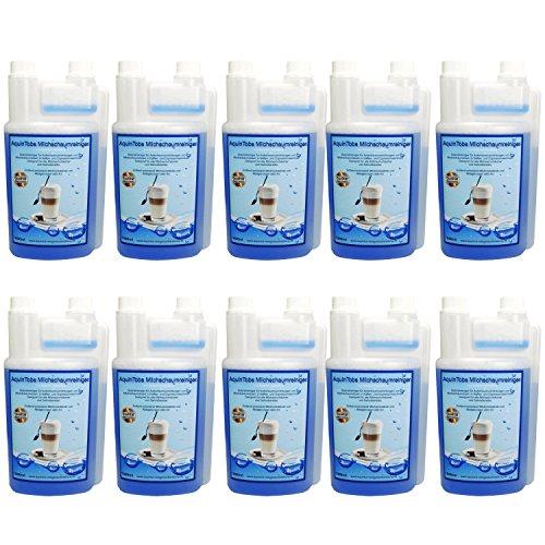 10er Pack AquinTobs Milchschaumreiniger AQ77002 - 1000ml - Spezialreiniger für Aufschaumvorrichtungen und Milchschaumdüsen in Kaffee- und Espressomaschien. Geeignet für alle Milchaufschäumer und Sahnebereiter.