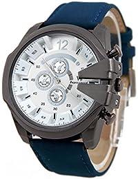 Reloj de pulsera - V6 Reloj de pulsera de cuero de imitacion de esfera para hombres(correa azul y caja blanca)