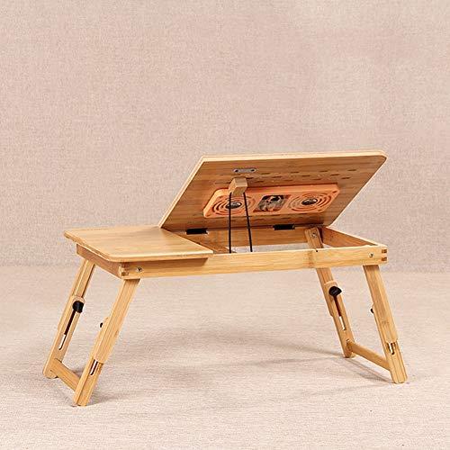 CLEAVE WAVES Klappbarer Laptop-Schreibtisch aus Bambus, Verstellbarer Notebookständer mit USB-Lüfter Anti-Rutsch-Schallwand für Bett und Sofa -