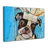 ShuciYAO Boston Terrier Leinwanddruck (30 x 20 cm), modernes Gemälde auf Leinwand, dekoratives Kunstwerk, Wanddekoration für Zuhause, Galerie zum Aufhängen