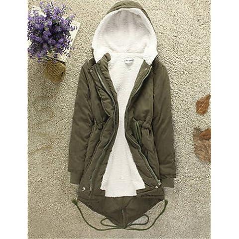 RONGFU ® Cappotto Da donna Parka Casual Manica lunga Cotone / Poliestere / Misto lana / Misto cotone , black-2xl , black-2xl