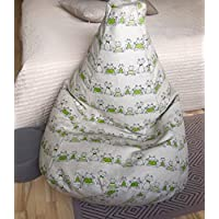 Bean bag chair linen cover Frog Prince Children beanbag Floor pillow Green frog print Large seating With Insert Filling is not included