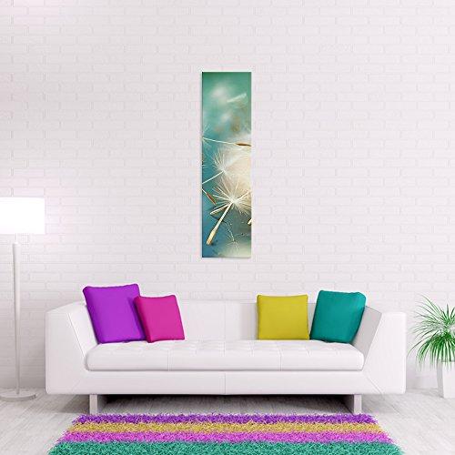 malango® - Leinwandbild - Pusteblume Leinwanddesign in Premium Qualität 1-Teiler Panorama im Hochformat spezielle Latex-Farbe auf Premium Leinwandstoff 40 x 150 cm