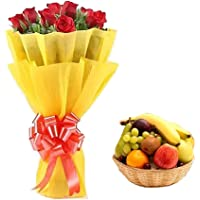 Floral Fantasy™ Fresh Flower Bouquet Arrangement For Mother's Day Gift (Bunch Of 10 Red Roses with 2kgs Fresh Fruit…