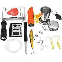 BQLOVE Kit de equipo de supervivencia para pesca, equipo de supervivencia al aire libre, herramienta táctica, camping, caza