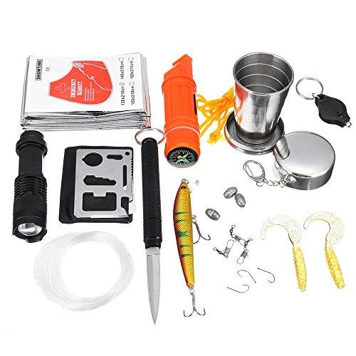 BQLOVE Kit de equipo de supervivencia para pesca, equipo de supervivencia al...