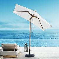 Outsunny Parasol rectangulaire inclinable bois polyester haute densité 2 x 1,5 x 2,3 m