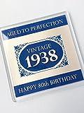 1938Vintage blau Happy 80. Geburtstag Getränke Untersetzer 2018Celebration Geschenk