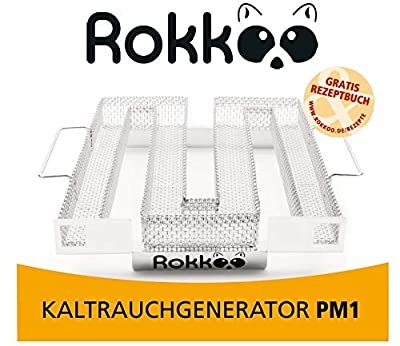 ROKKOO Kaltrauchgenerator, Räucherschnecke, Kaltraucherzeuger, Sparbrand aus Edelstahl mit Griffen für alle schließbaren Grills + Rezeptbuch E-Book + Gebrauchsanweisung (22,5 x 22,5 x 4,5 cm)