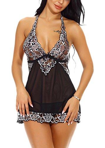 Xoolover Spitze Negligee V-Ausschnitt Babydoll Lingerie Nachtwäsche Kleid Dessous Unterwäsche für Damen mit Panties