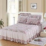 Eastery Bettrock Sheet Plus Baumwolle Tagesdecke 100% Baumwolle Floral Verdicken Sie Einfacher Stil B 150X200Cm(59X79Inch) Spannbettlaken Bequem Wärmer Vintage Orientalisch Design Muster