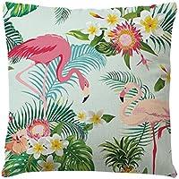 LUOEM Funda de Cojín de Flamingo Bordada Cuadrada para Dormitorio Sofá Sala 45 x 45 cm