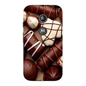 Special Chocolate Sweets White Brown Back Case Cover for Moto E 2nd Gen