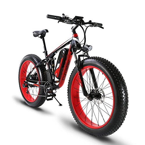 b2ab09382 Extrbici XF800 1000W 48V Electric Mountain Bike Fat Bikes Full Suspension  (Red)