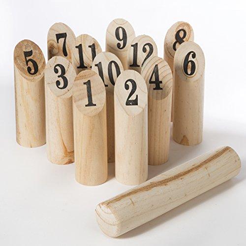 Jeu de quilles nordiques en bois avec sac de rangement inclus, jeu de plein air 13 pièces