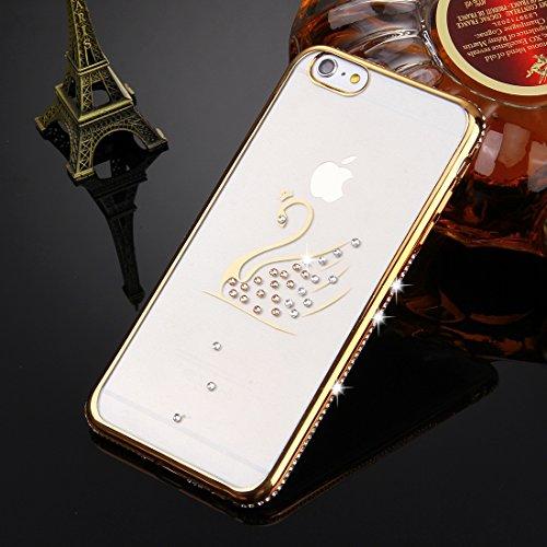 iPhone 6S-6 Hülle Glitzer-Strass Case Schutzhülle (4,7 Zoll) im stylishen Glamour glitzer Crystal Look mit Strassteinen und Aufdruck für das iPhone 6S-6 - Farbe: Gold - Nur original von THESMARTGUARD
