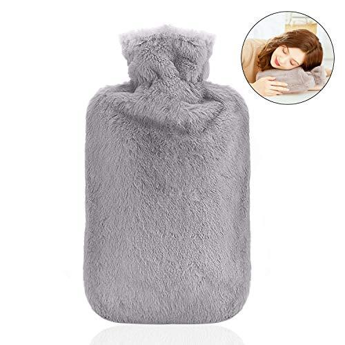 Wärmflasche mit Bezug, 800ML Wärmeflaschen mit Super Weichem Plüsch-Bezug Hot Water Bottle Sicher und Warm Wärmflasche für lindert Schmerz, Bauchschmerzen, Rücken und Nacken (Grau)