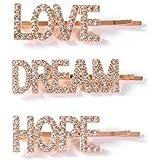 """Set di 3 fermagli per capelli da donna in stile minimalista, in lega di metallo, con scritta in lingua inglese """"Love Hope Dream"""" e brillantini"""